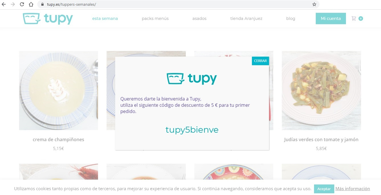 TUPY - DESCUENTO DE 5€ EN TU PRIMER PEDIDO DE COMIDA CASERA A DOMICILIO